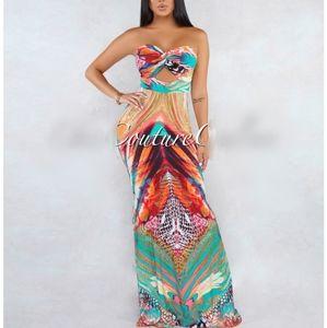 Dresses & Skirts - Strapless orange Multicolor printed maxi s